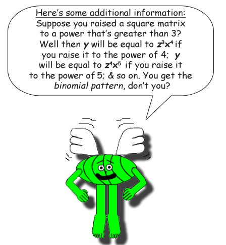 Here's some additional information: Suppose you raised a square matrix to a power that's greater than 3? Well then y will be equal to z^3 * x^4 if you raise it to the power of 4;  y will be equal to z^4 * x^5 if you raise it to the power of 5 & so on. You get the binomial pattern, don't you?